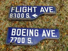 L.A. CALIFORNIA STREET SIGNS BOEING - FLIGHT AVE. 1940's RARE AIRPORT PORCELAIN