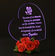 Gifts for Wedding Gift for Fiance Heart Shaped LED w/ Rose Base