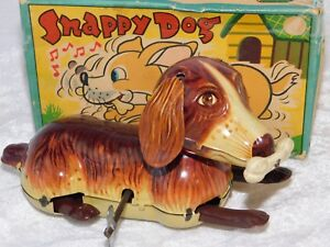 VTG 1950'S ALPS JAPAN SNAPPY THE BEAGLE DOG WIND UP LITHO TIN TOY IN BOX