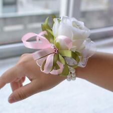Off white ivory Corsage Wristlet Silk Flower Decoration Weddings Party Prom