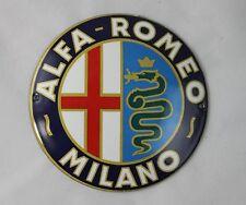 Ø 12cm - ALFA ROMEO -MILANO Werkstattschild - Schild - Emailschild - Türschild