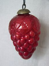 "KUGEL 4"" GRAPES CLUSTER Christmas Ornament RUBY RED Vintage Germany"