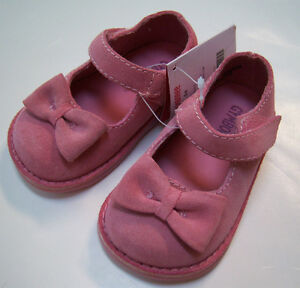 NWT Gymboree Girl Detective Pink Suede Bow Mary Jane Shoes 04 for 6-12 months
