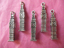Tibetan Silver Clock Tower/Big Ben Charms 5 Per Pack