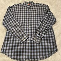 Tommy Hilfiger Mens Size Large Blue & Gray Plaid Long Sleeve Button Down Shirt