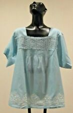 NWT Lt Blue Cotton Lace Embroidery  Bohemian Gypsy SS  Blouse Top Tunic One Size