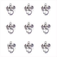 40pcs Vintage Silver Alloy Winged Dragon Shape Pendant Charm Jewelry Craft 50700