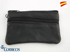 MONEDERO LLAVERO PIEL COLOR NEGRO DOS CREMALLERAS  (LLAVERO INTERIOR.)