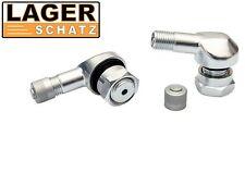 2 x Alu Winkelventile silber eloxiert 2 Stk. Motorrad Winkelventile tire valve