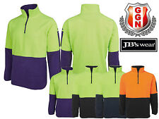 JBS HI VIS HALF ZIP POLAR FLEECE JUMPER,SAFETY WORKWEAR,5 COLOURS 6HVPF