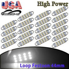 20Pcs Festoon 44mm 12 SMD White Rigid Loop LED Dome Map Light Lamp Bulbs 561 562