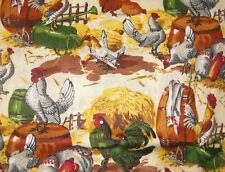 Sunny side Up Farm Fabric BTY  yard 36x44 chicken hen green yellow quilt rooster