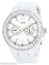 GUESS Womens Pearl Dial White-Tone Stainless Steel Bracelet Watch G135521