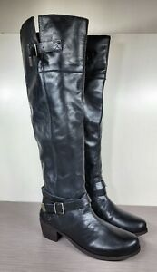 UGG Bess Over The Knee Riding Boot, Black Leather, Womens Size 8 US / 39