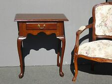 Vintage Ethan Allen Traditional Queen Anne Style Single Drawer Side Table