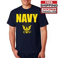NAVY T-SHIRT GOLD Military Shirt Blend Seal US U.S.NAVY USNAVY USA Seal Tshirt