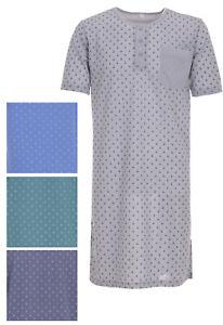 Herren Nachthemd kurzarm Knopfleiste Brusttasche Schlafshirt Größe M L XL XXL