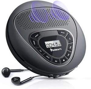 Portable CD Player with Speakers for Car Built-in Battery Anti-Skip Rechargeable