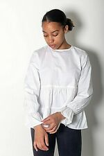 New Women Ex Branded White Gathered Tiered Long Sleeve 100% Cotton Top Size 8-14
