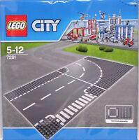 Lego City 7281 Straßenplatte Straße Platten Kurve + T-Kreuzung 32x32 grau NEU