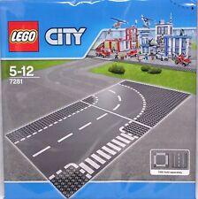 LEGO City 7281 routes Plaque Route Plaques COURBE + croisement 32x32 gris NOUVEAU