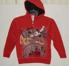 """DISNEY STORE Kids Girls """"Mickey Mouse"""" Red Full Zip Graphic Hoodie Size Large"""