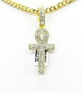 Fancy Icy Handmade Ankh AAA Designer Pendant Vs Baguette Crystal Finest Quality