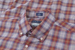 NWT Peter Millar Collection Large Dress Shirt Blue Orange Brand New Egyptian Co