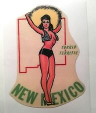 New Mexico pinup girl sticker travel decal hot rat rod vintage look car truck