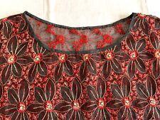 antique 1930s-40s dress bodice or capelet black net embr.w red, rhinestone trim