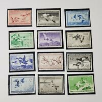 Lot of 12 WTDstamps #RW13 1946 - #RW24 1957 US Federal Duck Stamps OG