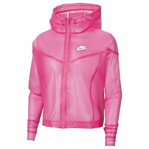 Nike Women's Sportswear Transparent Jacket Pink Glow CU6578 XL