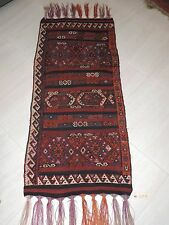 3x6ft. Antique Handwoven Kilim Tribal Wool Runner
