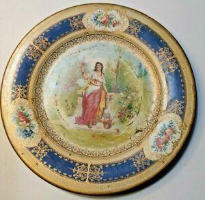 "Vintage Metal 10"" Vienna Art Plate Lady Flowers 1905 Era"