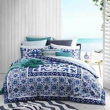 Logan and Mason CASPIAN TEAL Mosaic Queen Size Bed Doona Duvet Quilt Cover Set