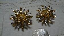 KJL signed clip earrings sunflower gold toned with clear rhinestones