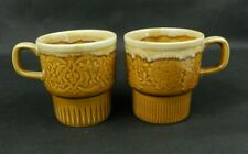 New Listing2 Mcm Coffee Cups Mugs Brown Pottery Ceramic Glaze D Handle Stacking Japan