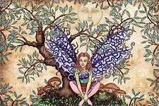 "Tree Fairy Celestial Tapestry ©Dan Morris 44""x66"" Wall Hanging, Poster Flag"
