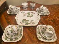 Vintage 4 Cups 4 Saucers 4 Cake Plates Swedish Hackefors Porcelain Coffee Set