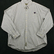 Vtg 90s WASHINGTON UNIV HUSKIES Vesi Plaid Check Logo Team Button Shirt Men's XL