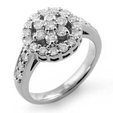 1 Ct Round Diamond Cluster Anniversary Engagement Wedding Ring 14K White Gold G