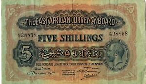 SCARCE EAST AFRICAN CURRENCY BOARD BANKNOTE 5 P13 1921 VF - GEORGE V