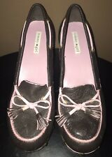 Vintage Tommy Girl Leather Clog Wedge Shoes in Brown with Pink (Size 10M)