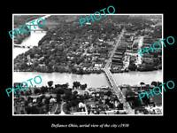 OLD LARGE HISTORIC PHOTO OF DEFIANCE OHIO AERIAL VIEW OF THE CITY c1930