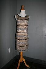 Designer Gown AIDAN MATTOX Beaded Cocktail Formal Dress ~ BLACK SILVER ~ SIZE 6