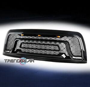 For 2010-2018 Dodge Ram 2500 3500 Pickup Hood Upper Grille w/Lights Gloss Black