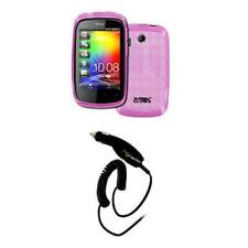 Smart Chip Car Charger+Flexi Poly Skin TPU Case Cover Hot Pink for HTC Explorer