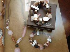 SILPADA 3 Stretch Bracelets B1799- Howlite, Shell, Pearl, Horn & Sterling Silver