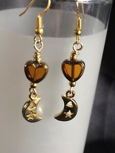 Golden Moon Charm Earrings With Vintage Glass Heart Bead