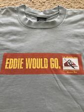 THE QUIKSILVER EDDIE AIKAU WOULD GO 1998 VINTAGE WAIMEA BAY HAWAII RARE LRG GRAY